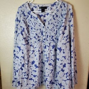 Lane Bryant Boho Blue Floral Button Casual Blouse